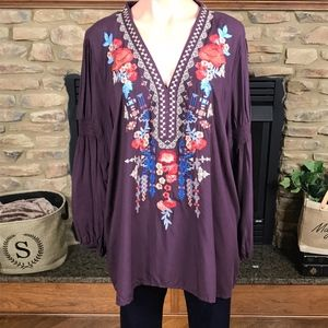 Custom Embroidered Woven Top In Eggplant: 1XL-3XL